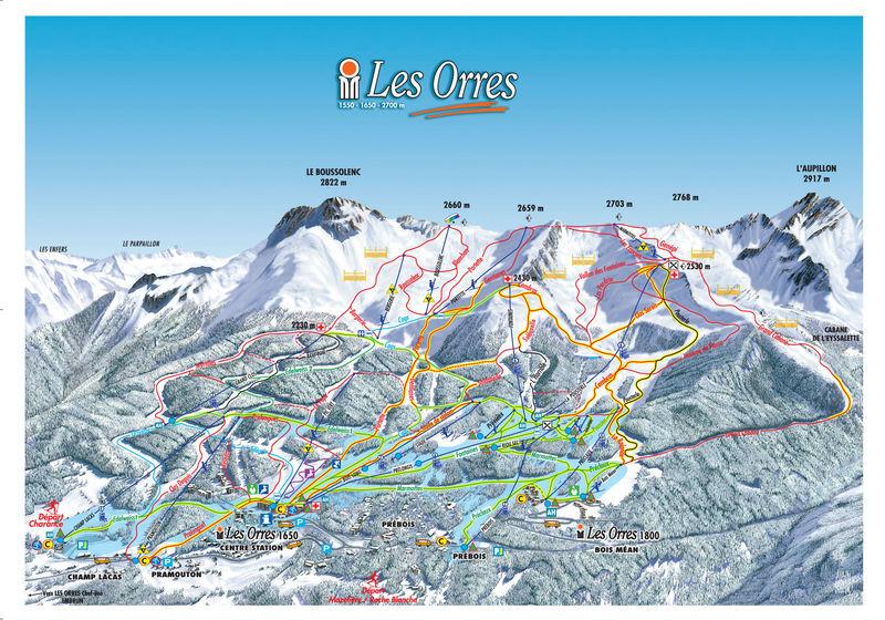 Схема трасс горнолыжного курорта Лез Ор