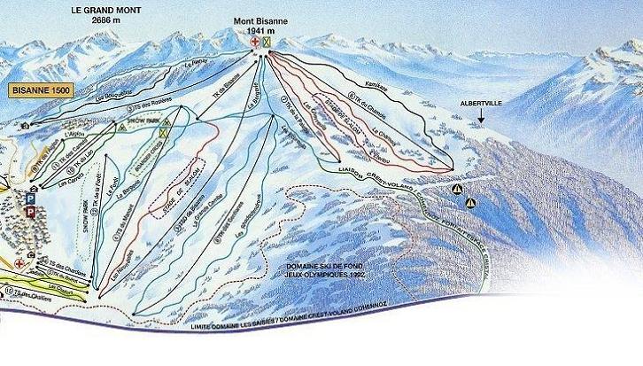 Схема трасс горнолыжного курорта Ле Сези