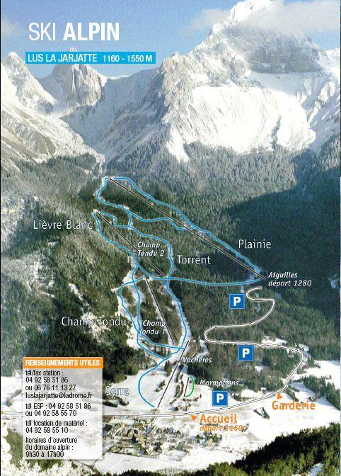 Схема трасс горнолыжного курорта Лю ла Жаржет