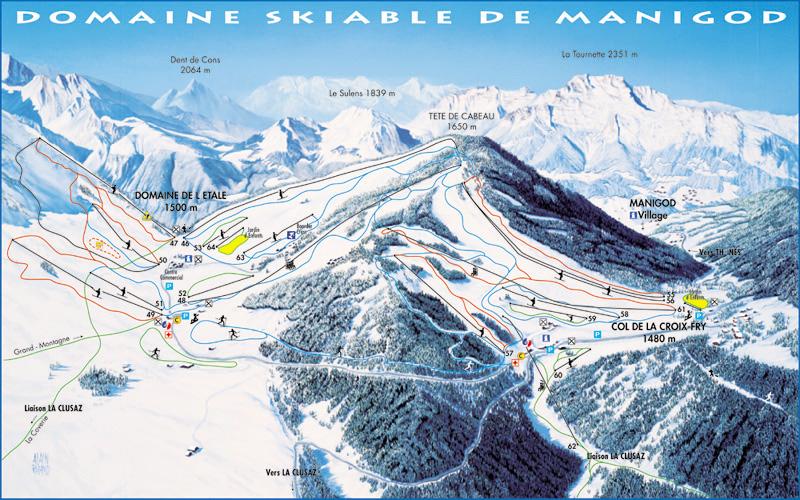 Схема трасс горнолыжного курорта Маниго