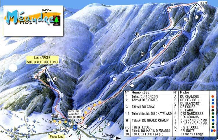 Схема трасс горнолыжного курорта Меадр