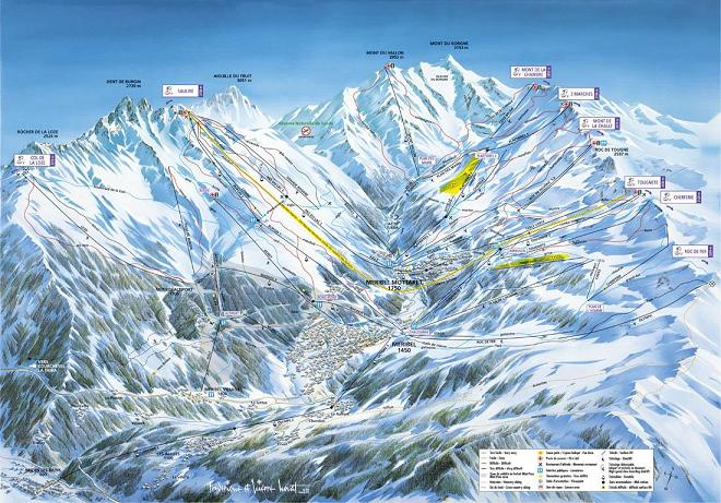 Схема трасс горнолыжного курорта Мерибель