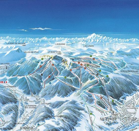 Схема трасс горнолыжного курорта Метабьеф Мон д'Ор