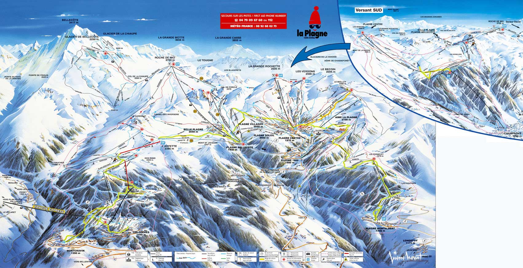 Схема трасс горнолыжного курорта Моншавен   Ла Плань