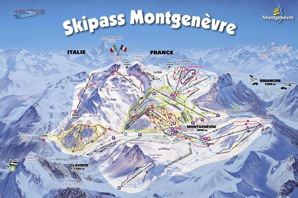 Схема трасс горнолыжного курорта Монженевр