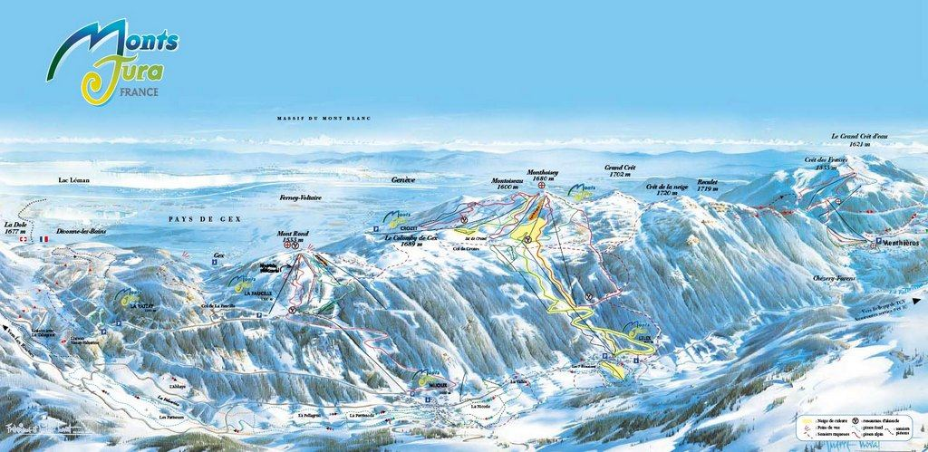 Схема трасс горнолыжного курорта Монт Юра