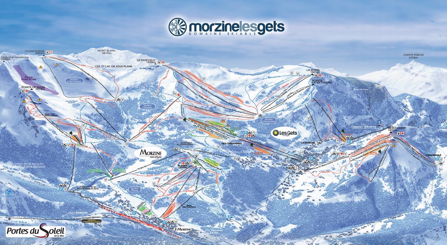 Схема трасс горнолыжного курорта Ле Же