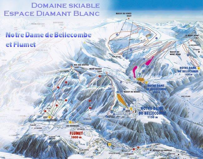 Схема трасс горнолыжного курорта Нотр Дам де Белькомб