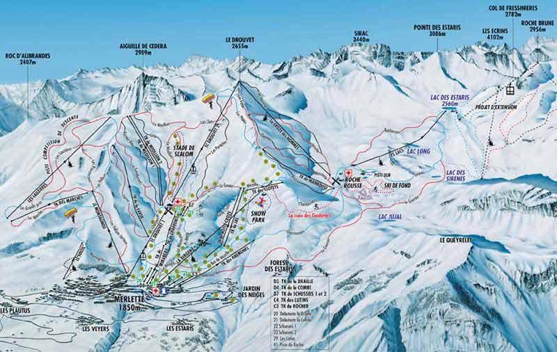 Схема трасс горнолыжного курорта Орсьере Марлет