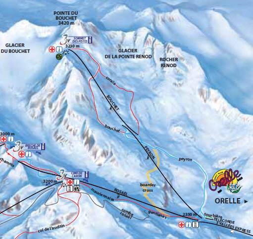 Схема трасс горнолыжного курорта Орель