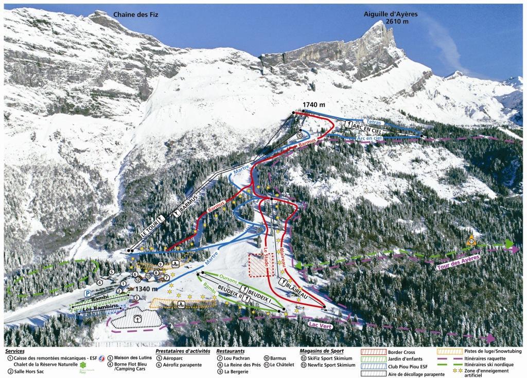 Схема трасс горнолыжного курорта Пасси