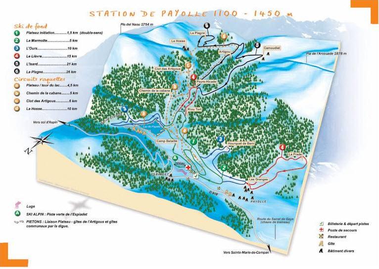 Схема трасс горнолыжного курорта Кампан Пайоль