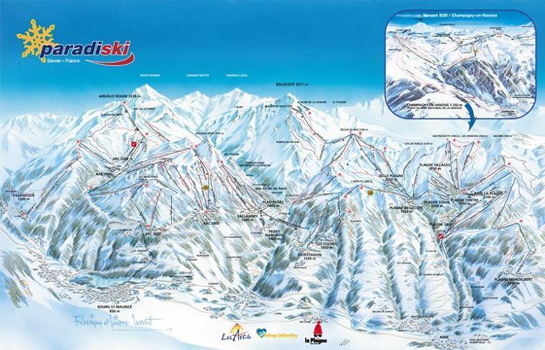 Схема трасс горнолыжного курорта Пейси Валландри