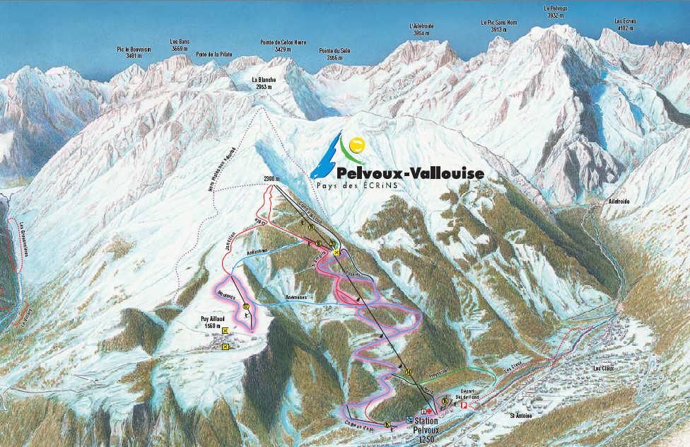 Схема трасс горнолыжного курорта Пельву - Валлоиз