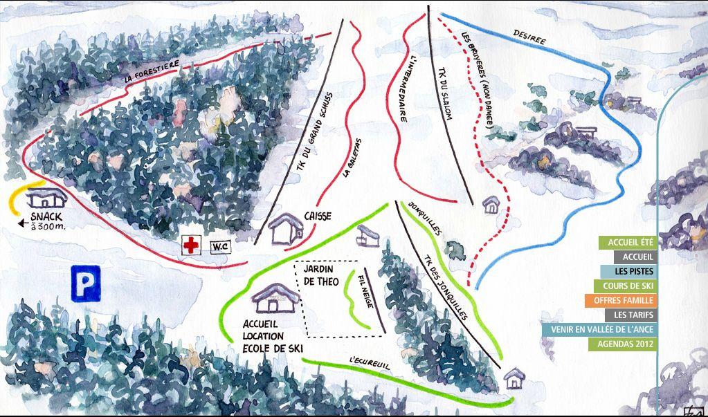 Схема трасс горнолыжного курорта Прабур / Praboure
