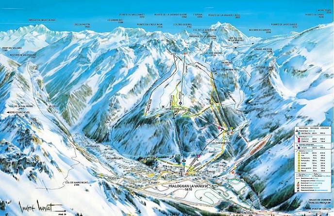 Схема трасс горнолыжного курорта Пралоньян ла Вануаз