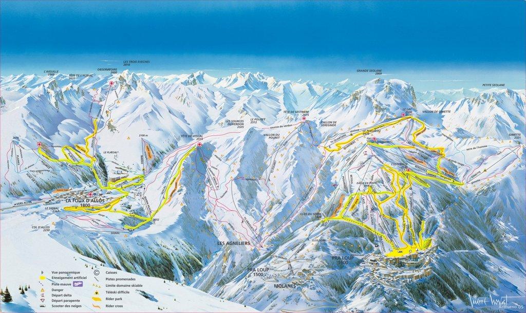 Схема трасс горнолыжного курорта Пралуп