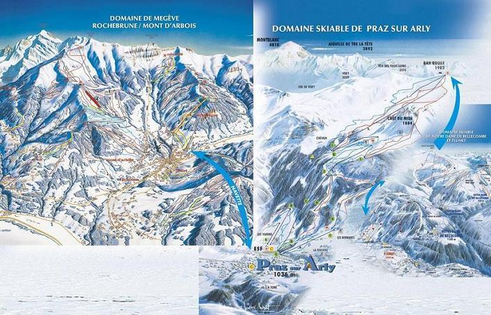 Схема трасс горнолыжного курорта Праз сюр Арли