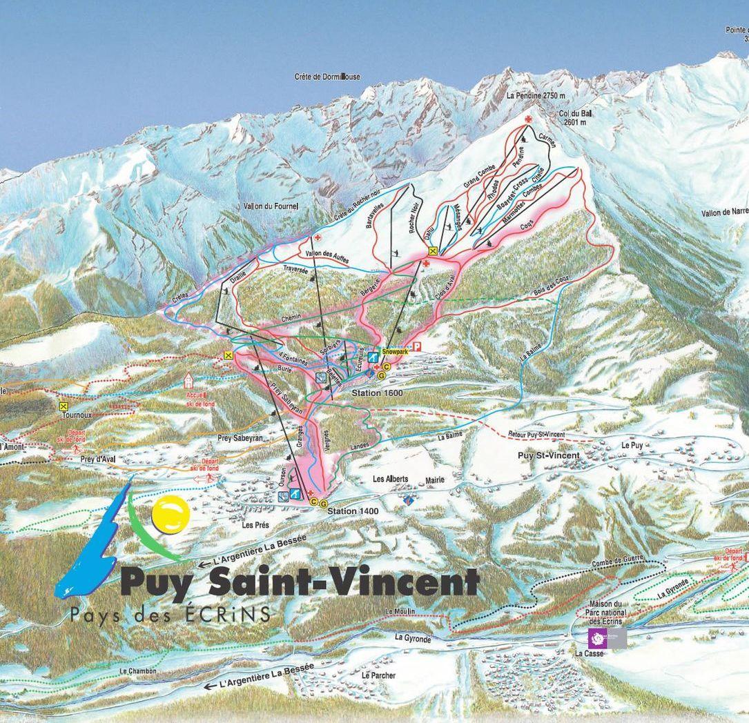 Схема трасс горнолыжного курорта Пюи Сент Винсент