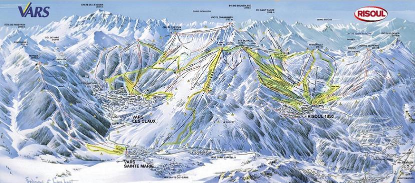 Схема трасс горнолыжного курорта Ризуль
