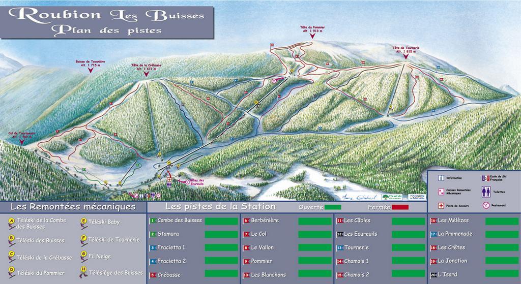 Схема трасс горнолыжного курорта Рубион -  Ле Бюссе