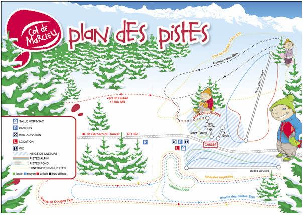 Схема трасс горнолыжного курорта Коль де Марсо