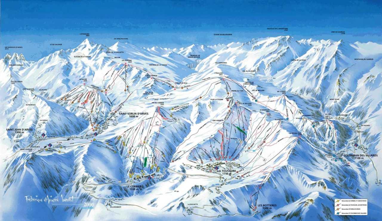Схема трасс горнолыжного курорта Санкт Коломбан де Виллар