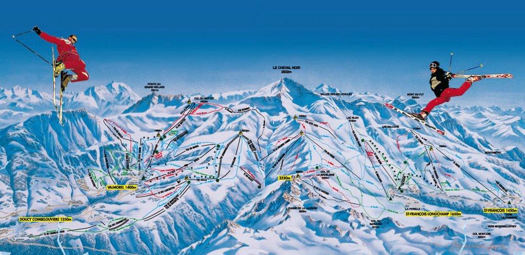 Схема трасс горнолыжного курорта Сен Франсуа Лоншамп