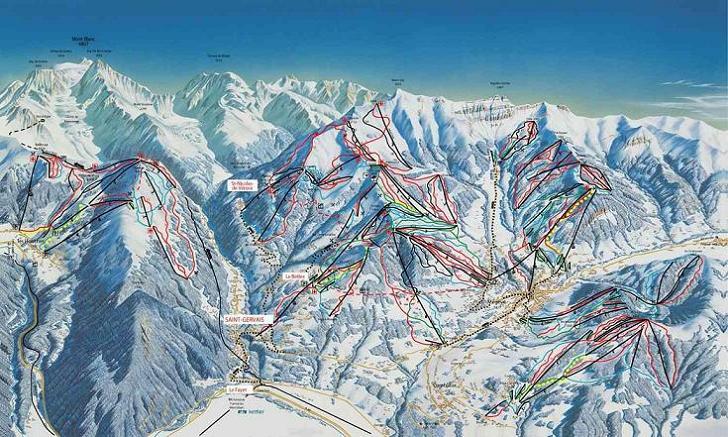 Схема трасс горнолыжного курорта Сен Жерве Мон Блан