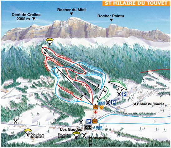 Схема трасс горнолыжного курорта Сент Илер дю Туиет