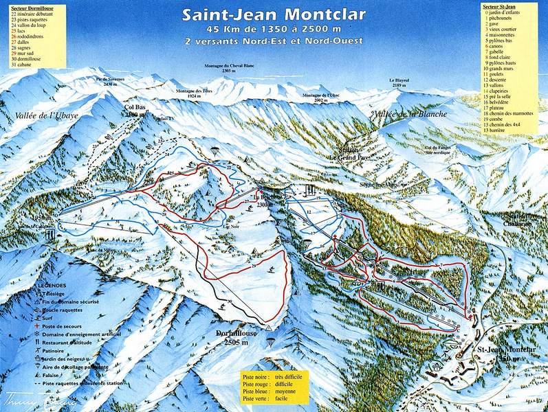 Схема трасс горнолыжного курорта Сен Жан Монклар