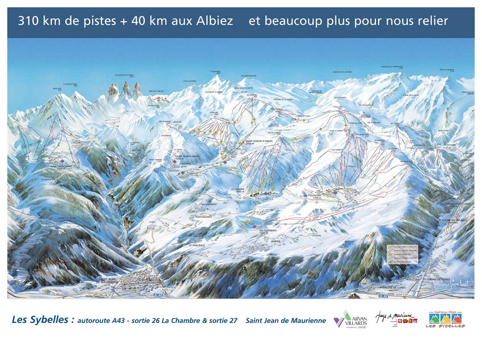 Схема трасс горнолыжного курорта Сен Жан д'Арв