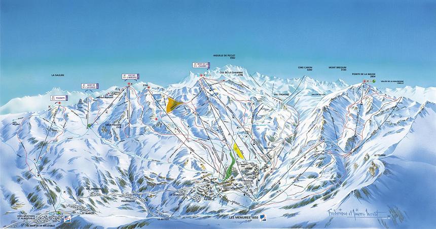 Схема трасс горнолыжного курорта Сен Мартен де Бельвиль
