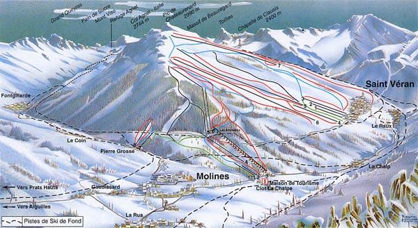 Схема трасс горнолыжного курорта Сент Веран