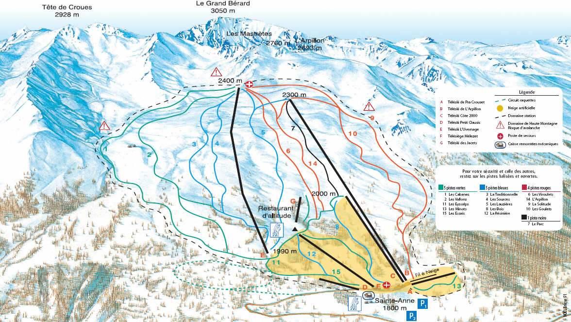 Схема трасс горнолыжного курорта Сент Анн ла Кондамин