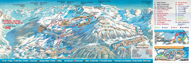 Схема трасс горнолыжного курорта Сент Фуа Тарантез