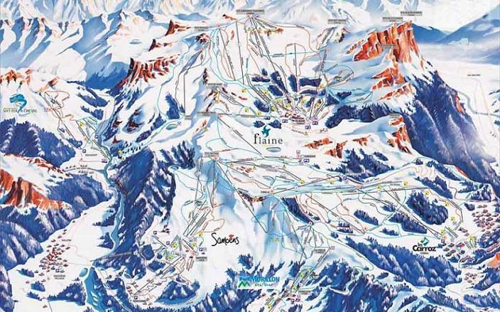 Схема трасс горнолыжного курорта Самоен