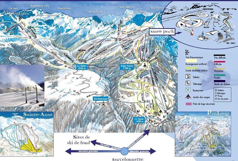 Схема трасс горнолыжного курорта Соз Супер Соз