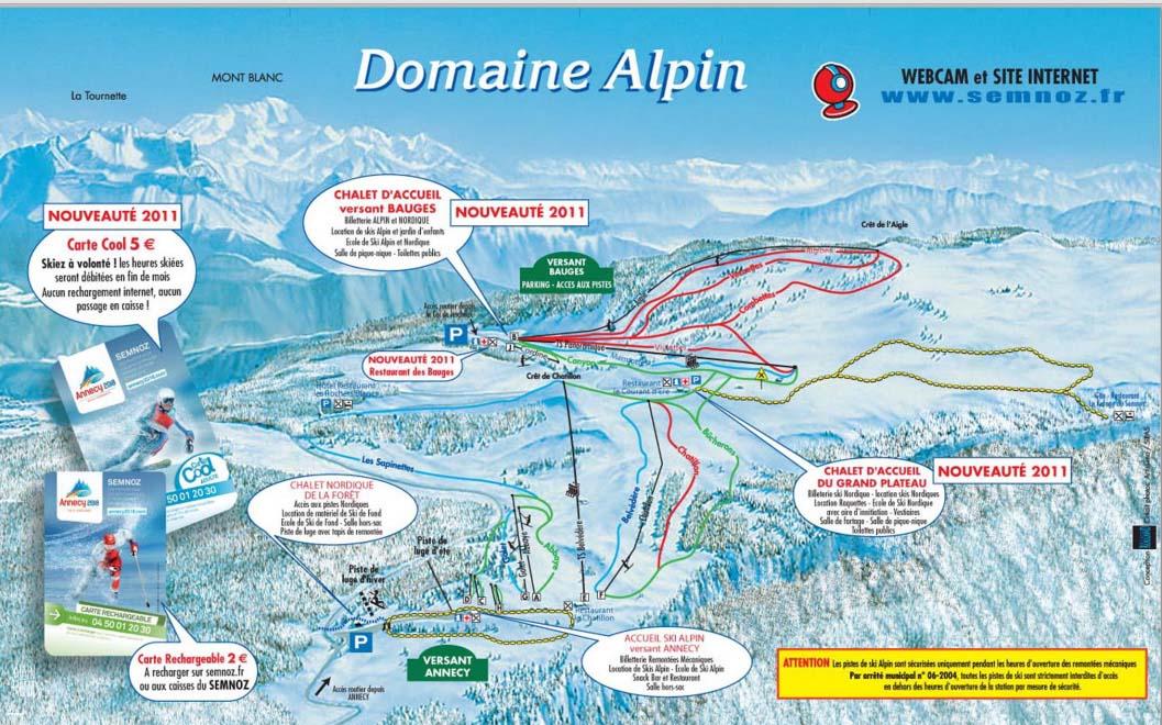 Схема трасс горнолыжного курорта Ле Семноз