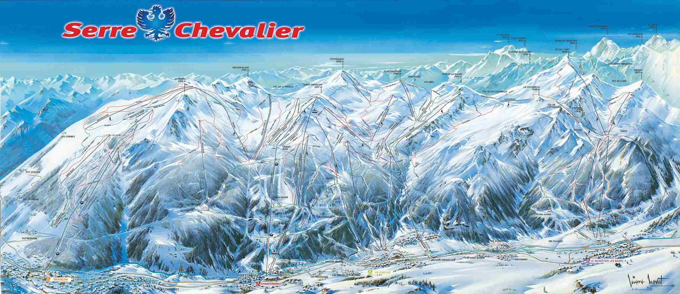 Схема трасс горнолыжного курорта Серр Шевалье