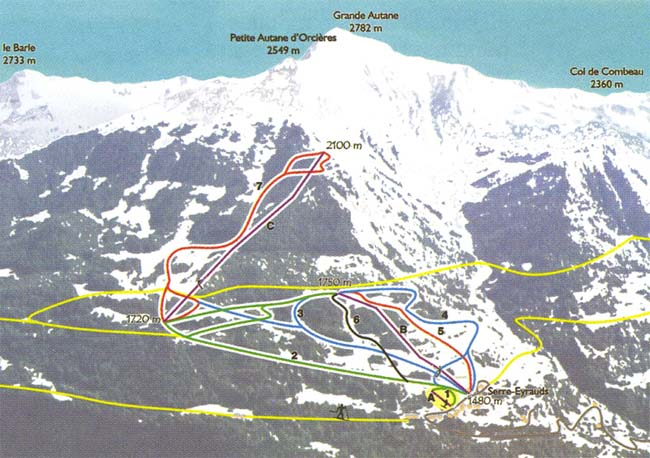 Схема трасс горнолыжного курорта Серр Эйро