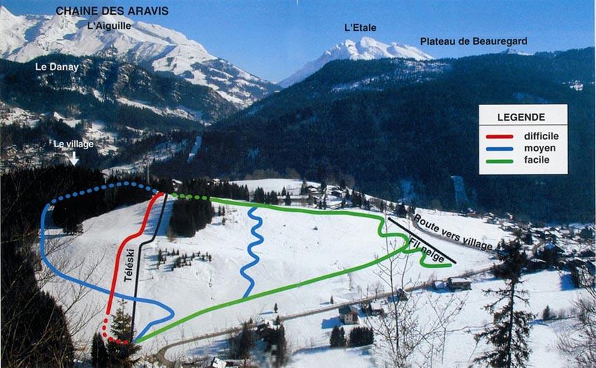 Схема трасс горнолыжного курорта Сикст Фер а Шеваль