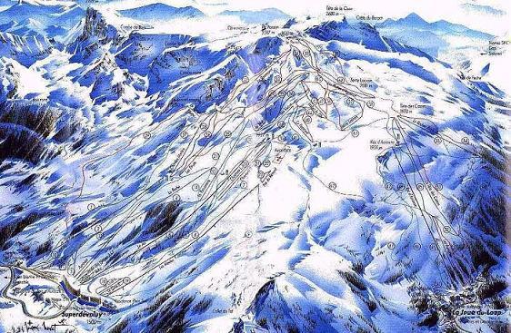 Схема трасс горнолыжного курорта Супердеволю / Ла Жуэ дю Луп
