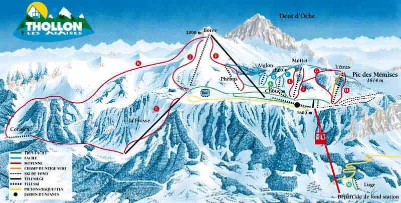 Схема трасс горнолыжного курорта Толлон Ле Мемиз