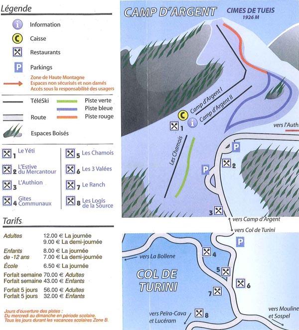 Схема трасс горнолыжного курорта Турини Камп д'Аржан