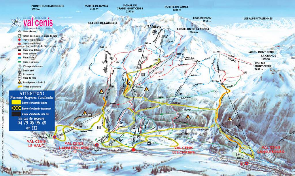 Схема трасс горнолыжного курорта Валь Сени Вануаз