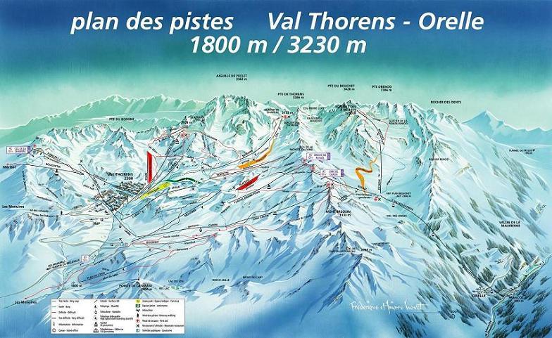 Схема трасс горнолыжного курорта Валь Торанс