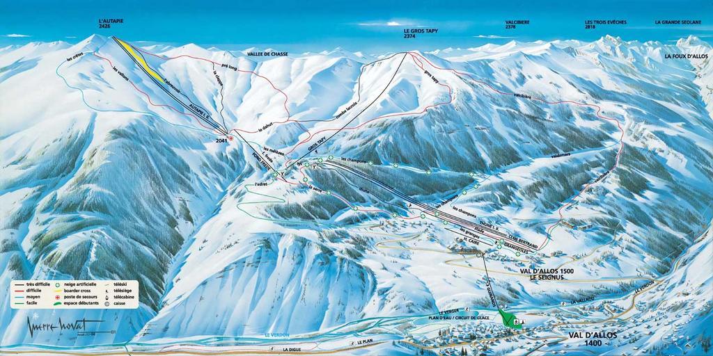 Схема трасс горнолыжного курорта Валь д'Аллос  - Ла Фу