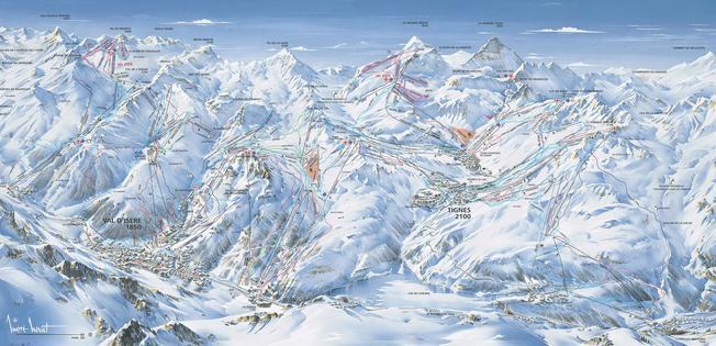 Схема трасс горнолыжного курорта Валь д'Изер