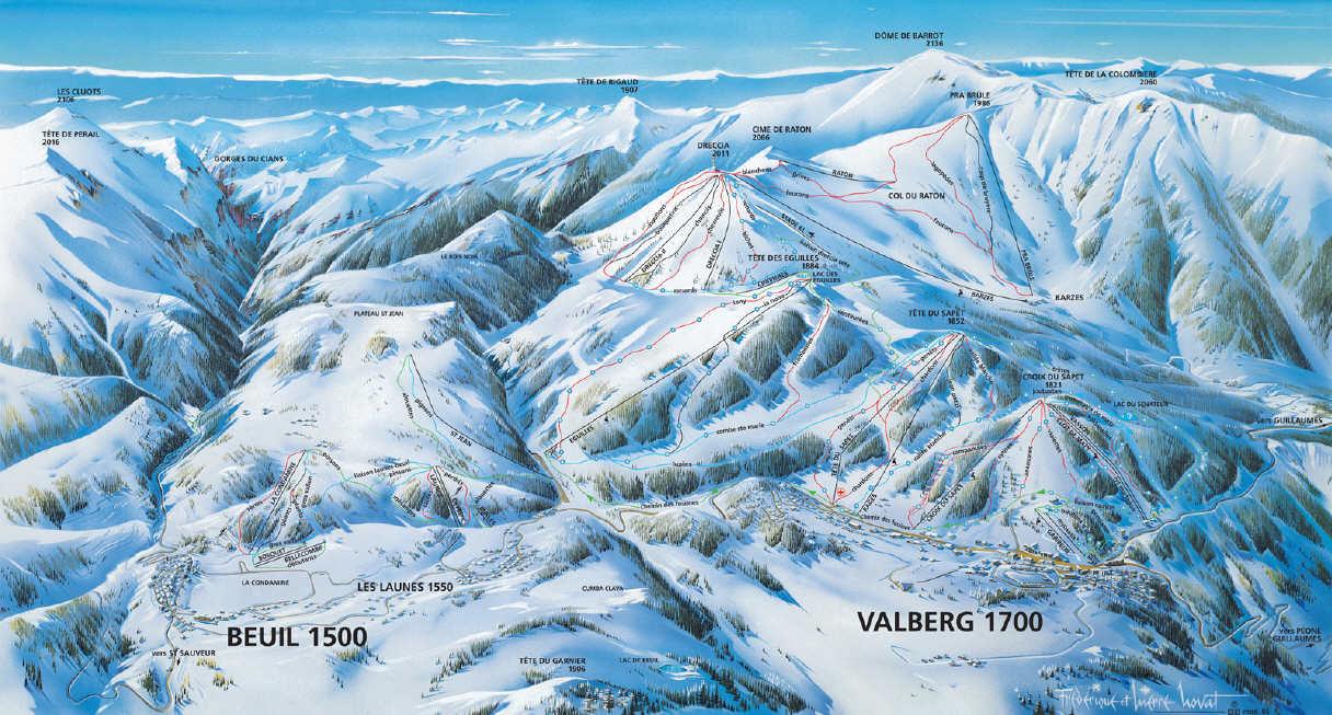 Схема трасс горнолыжного курорта Вальберг